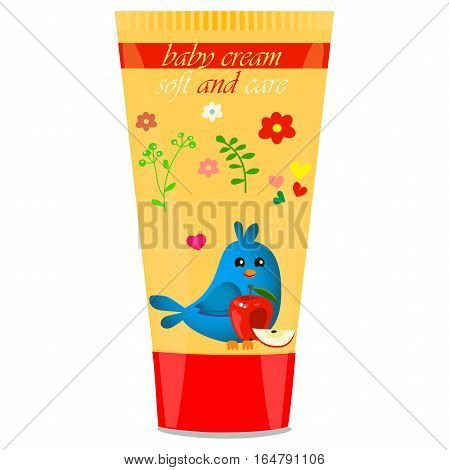 High quality original trendy vector Baby cream tube with kids design and bird, apple illustration