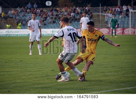 LUTSK UKRAINE - 02 September 2012: FC Volyn Erik (L) in action during football match vs FC Metalist Kharkiv