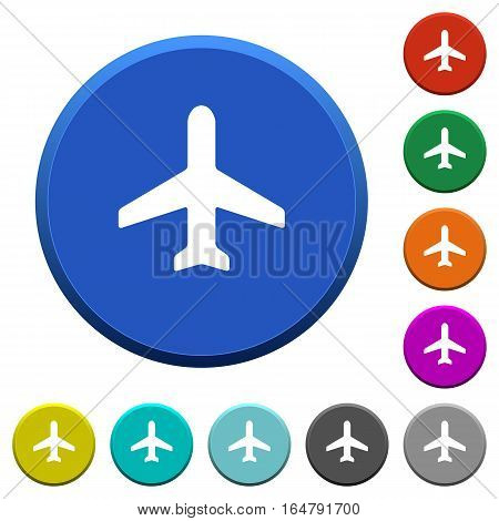 Airplane round color beveled buttons with smooth surfaces and flat white icons
