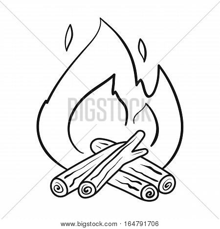 Campfire icon in outline design isolated on white background. Fishing symbol stock vector illustration.