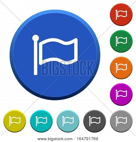 Flag round color beveled buttons with smooth surfaces and flat white icons