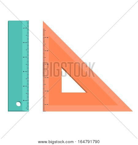 Set of measuring tools: rulers, triangles. Vector school instruments isolated on white background. rules school supply icon. Correct form and sizes. Metric system of measurements