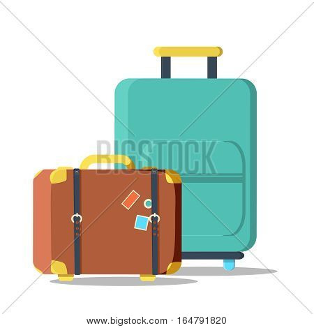 suitcases travel isolated icon. Old Suitcase Travel Stickers isolated with a clipping path. Travel bag. Traveling icon, vector illustration