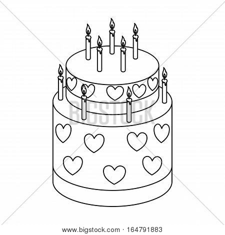 Cake with hearts icon in outline design isolated on white background. Cakes symbol stock vector illustration.