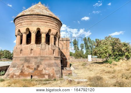 Bitlis, Turkey - September 28, 2013: Emir Bayindir Kumbet (tomb) is a mediaval Seljuk mausolem