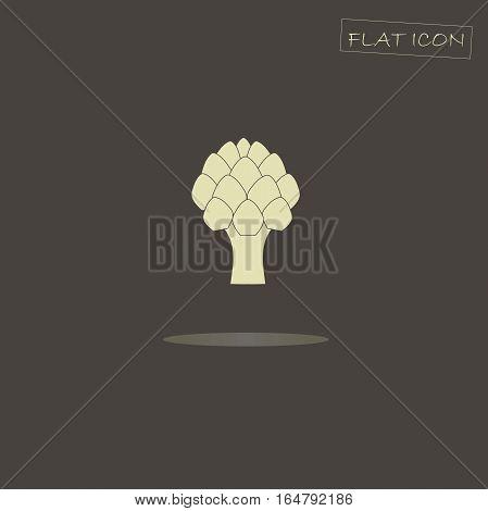 Light artichoke on black, flat icon vector illustration