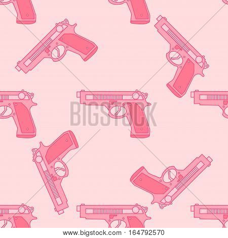 Seamless pink pattern with gun for dangerous girls.