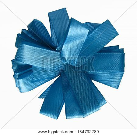 Blue ribbon bow in the shape of cornflower isolated on white background