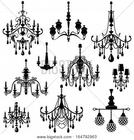Set of Decorative elegant luxury vintage crystal chandelier icons black silhouette luster isolated on white.