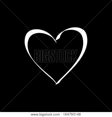 Heart isolated. White sign on black background. Romantic silhouette symbol linked join love passion and wedding. Monochrome mark of valentine day. Design element. Vector illustration