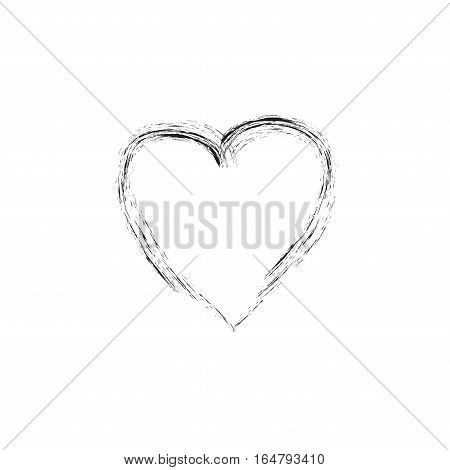 Heart isolated. Black sign on white background. Romantic silhouette symbol linked join love passion and wedding. Monochrome mark of valentine day. Design element. Vector illustration