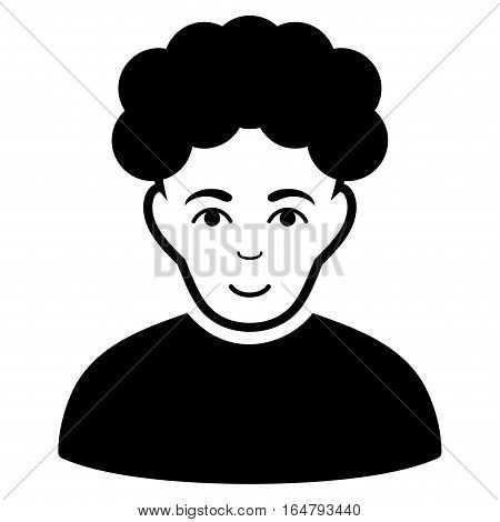 Brunet Man vector icon. Flat black symbol. Pictogram is isolated on a white background. Designed for web and software interfaces.