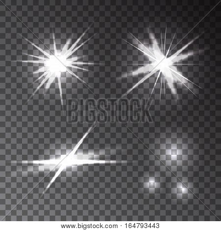 Collection of different transparent glowing flash light effects. Set of bright stars lens flares explosions rays sparkles burst. Vector texture.