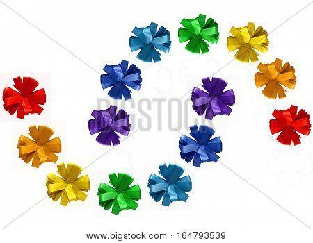 Rainbow painted ribbon cornflower bows isolated on white background