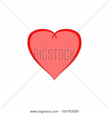 Heart isolated. Pink sign on white background. Romantic silhouette symbol linked join love passion and wedding. Colorful mark of valentine day. Design element. Vector illustration