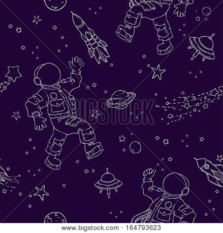 Seamless pattern with space, astronauts, UFOs, planets, stars and space objects. Wallpaper, textile, fabric, baby products.