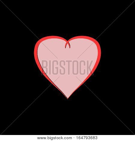 Heart isolated. Pink sign on black background. Romantic silhouette symbol linked join love passion and wedding. Colorful mark of valentine day. Design element. Vector illustration