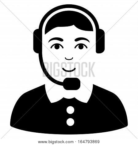 Call Center Operator vector icon. Flat black symbol. Pictogram is isolated on a white background. Designed for web and software interfaces.
