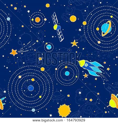 Seamless pattern with space, UFOs, planets, stars and space objects. Wallpaper, textile, fabric, baby products.