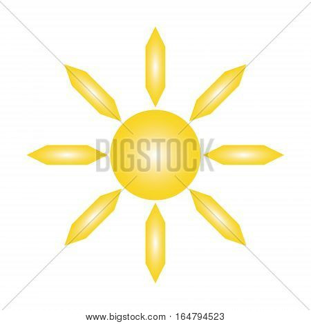 yellow sun and six-pointed rays on white background of vector illustrations
