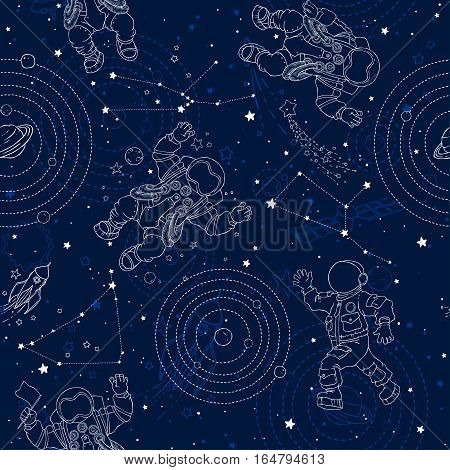 Seamless pattern with space, astronauts, constellations, planets, stars and space objects. Wallpaper, textile, fabric, baby products.