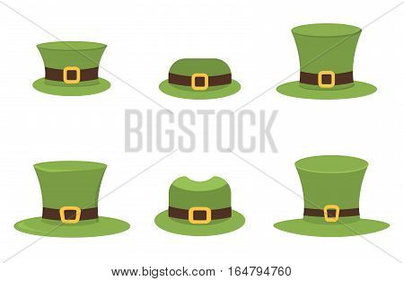 Six St. Patrick's Day hats isolated on white for easy extraction. Ireland luck march celebration leprechaun traditional holiday. Patrick green irish hat party lucky decoration.