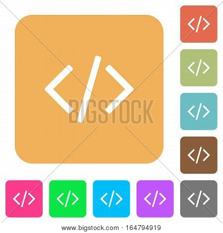 Programming code flat icons on rounded square vivid color backgrounds.