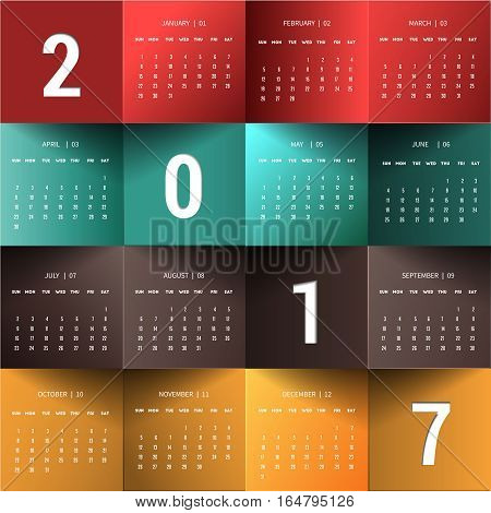 Desktop calendar for 2017 year January-December .Can use for cover design stationery template, planner, diary souvenir,calendar  and timeline.Origami paper concept vector illustration.