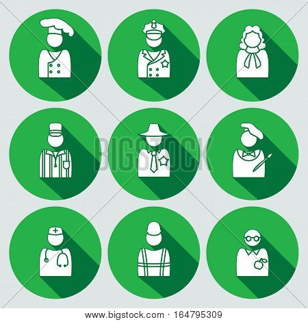 People icon set. Judge, artist, referee, doctor, teacher, sherif, cook, builder, worker, policeman. Profession, avatar symbol. White sign on round green button with long shadow. Vector