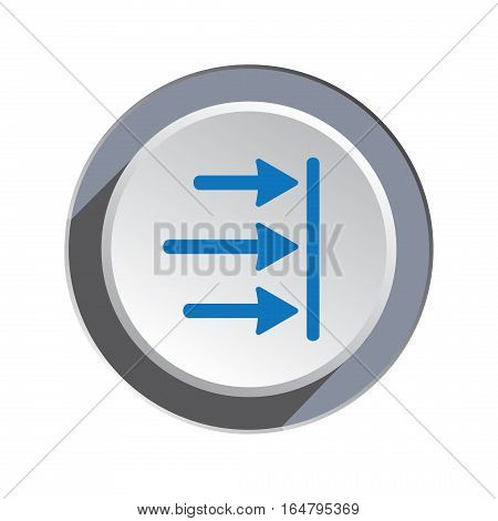 Arrow to right icon. Move, direction cursor sign. Guide, time limit symbol. Blue pointers silhouette on round three dimensional button. Vector