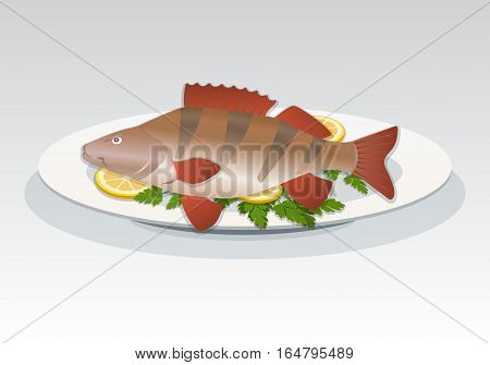 Fish icon. Perch on white plate with lemon and herbs. Food, seafood dish symbol. Percidae family. Colored sign on gray background. Vector isolated