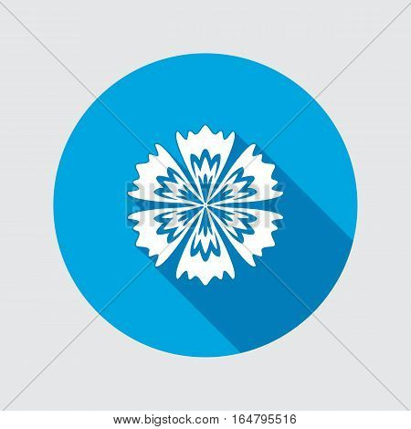 Cornflower, blue poppy, centaury, knapweed flower icons. Spring floral, medicinal herbs symbol. Round circle flat icon with long shadow. Vector