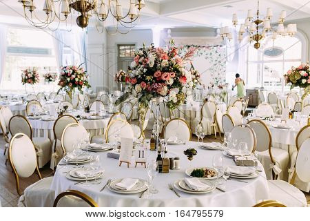 Light Hall Of The Big Wedding Restaurant