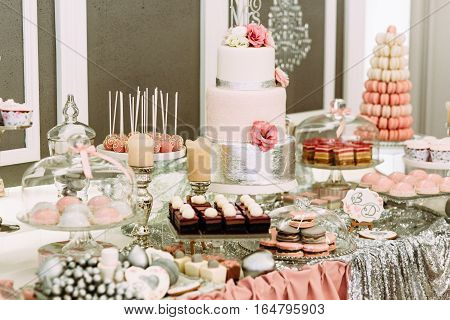 Specially Decorated Table With Sweets For The Wedding