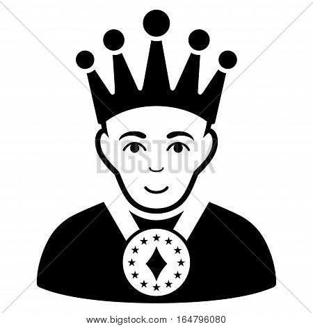 King vector icon. Flat black symbol. Pictogram is isolated on a white background. Designed for web and software interfaces.