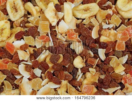 Dried Fruit With Raisins And Pieces Of Coconut And Banana On Sal