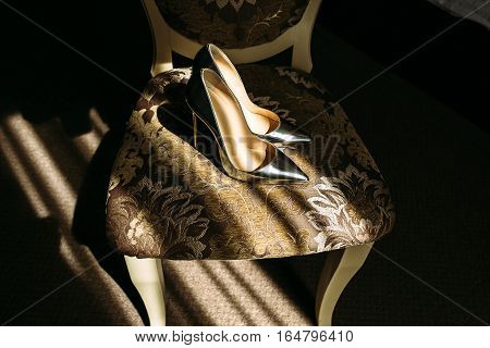 Fabulous Silver Bridal Shoes On The Chair
