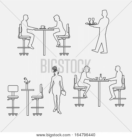 Architectural set of furniture with people. Sitting man, woman. Front view. Interiors elements for restaurant, bar, cafe, premises. Thin lines icons. Table, chair. Standard size. Vector