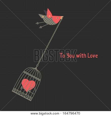 Romantic love poster. Flying bird hanning cage with red heart. Freehand drawn fancy cartoon style. Vector vintage greeting card template with Valentine day symbol, lovers weeding banner background