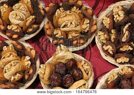 Dried Apricots And Figs And Other Dried Fruits Stuffed With Waln