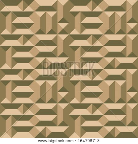 Seamless geometric architectural pattern. Convex metallic texture with rectangular and square pyramids. Gold colored background. Vector
