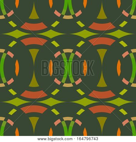 Seamless geometric abstract pattern. Rombus, circle view braiding figure texture. Green, brown, orange colored background. Vector poster