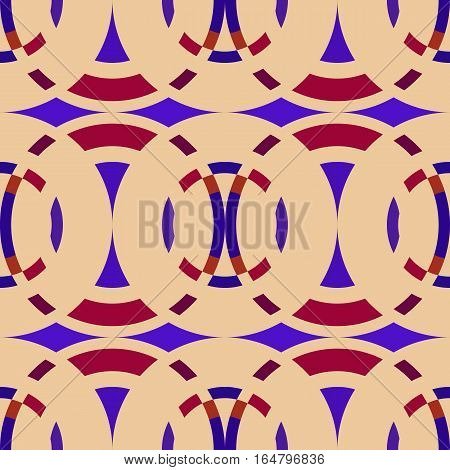 Seamless geometric abstract pattern. Rombus, circle view braiding figure texture. Violet, dark red, bisque colored background. Vector