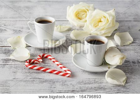 Romantic breakfast coffee cup with white rose