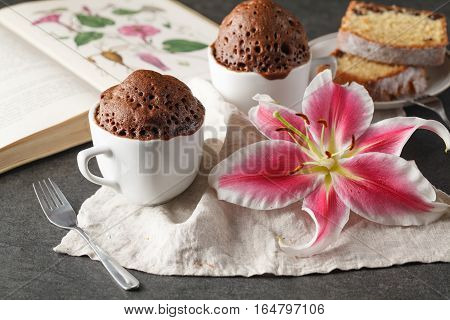 Chocolate cupcake in ceramic cup on table
