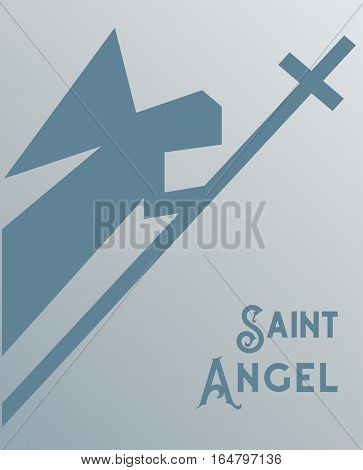 Christian icon concept. Freehand drawn stylized saint Angel with holy cross emblem. Church logo template element. Religious holiday symbol. Vector design of religion sign biblical banner background