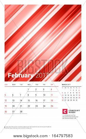 February 2017. Wall Monthly Calendar For 2017 Year. Vector Design Print Template With Abstract Red B
