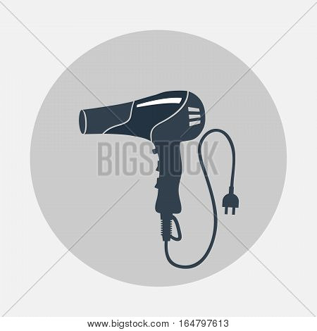 Blow hairdryer with cord and plug. Professional barber tool, hair care, household symbol. Gray black colored round sign. Vector isolated