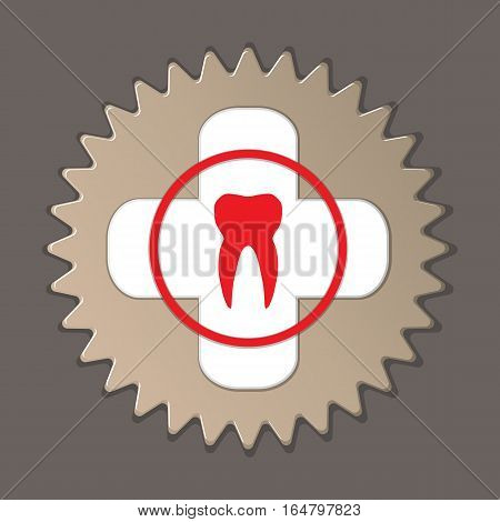 Dentist, stomatologist logo label icon. Medical symbol of health and medicine. Round insignia sign with shadow on gray background. Vector