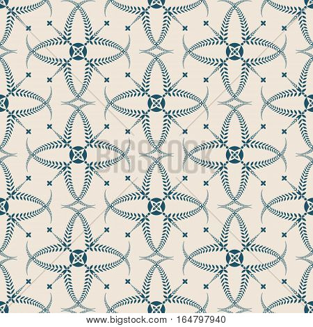 Religion seamless pattern. Laurel wreath, lace view texture with cross. Ceremonial, funeral background. Swirl stylized ornament. Turquoise, light gray colored. Vector